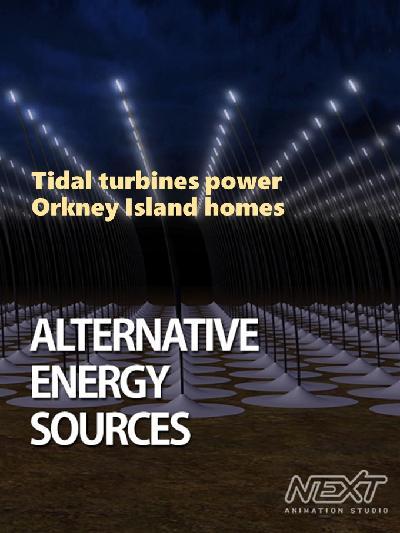Tidal turbines power Orkney Island homes